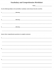 Vocabulary and Comprehension worksheet sample page